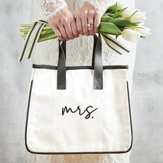 Mrs. Canvas Tote   Time Your Gift Tin Gifts, Mini Canvas, Bride Gifts, Wedding Gifts, Canvas Leather, Leather Handle, Cute Gifts, Canvas Tote Bags, Reusable Tote Bags