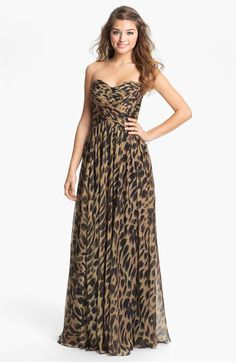 La Femme Print Strapless Chiffon Gown available at #Nordstrom