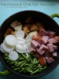 Farmstand One Pot Wonder is green beans, new potatoes, onions, and ham that are all cooked in one pot. It is so easy; you'll love it!