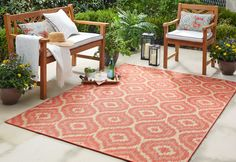 Mohawk Home Oasis Morro Indoor/Outdoor Area Rug - x (Coral (Pink)), Size x Indoor Outdoor Area Rugs, Outdoor Areas, Outdoor Living, Coral Rug, Coral Pink, Mohawk Home, Geometric Rug, Outdoor Settings, Carpet Stains