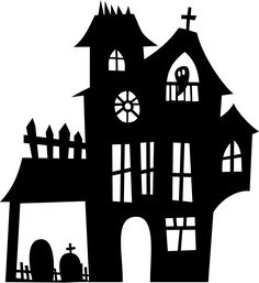 Silhouette of haunted home. Scary Haunted House, Spooky House, Halloween Haunted Houses, House Jokes, Funny Halloween Jokes, Halloween Cut Outs, House Outline, Pet Spider, Haunted Houses