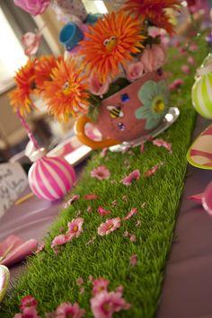 "Idea for Allie's 1st Birthday!  ""Allie in ONEderland""!!! ONEderland Green Grass & Flowers Table Setting"