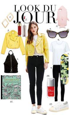 Look Du Jour: Shakira, Shakira! White t-shirt+black skinny jeans+white sneakers+yellow biker leather jacket+black backpack+sunglasses. Spring Casual Outfit 2017