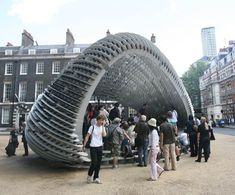 Second and third year architecture students at the Architectural Association school in London have completed this year's AA Summer Pavilion, called the Swoosh Pavilion.In what is turning out to be something of a glut of pavilions, Swoosh joins the [c]space Pavilion (above), which is also located in Bedford Square. See our previous story for more info about this one.