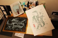 """Proofing #4  Purchase your Original Woodblock Print Now! Send me an email to: ligel@ligel.com with title """"Simple Bass Original Woodblock Print Order."""" Size: 39.5 cm x 55 cm LIMITED EDITION [ Limited to 12 ] Artist Proofs Price: AP Edition [$150] [ Limited to 125 ] - Signed & Numbered original woodblock Prints Price: S/N Edition [$75]"""