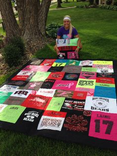 A beautiful t-shirt quilt for a beautiful graduate and state track qualifier!