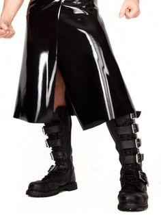 Latexa-Men-039-s-Kilt-Style-Skirt-in-Rubber-Black-Fetish-Wear-Kinky-Outfit