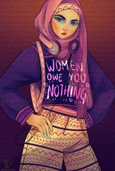 Hijabi Babe Art Print by MW Illustration - X-Small Riot Grrrl, Intersectional Feminism, Social Justice, Human Rights, Women's Rights, Equal Rights, Girl Power, Illustration, Cartoons