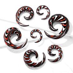 Sold as pair Earrings Solid Acrylic Printed Skulls Taper plug O-Rings 4 gauge
