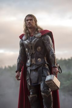 "This is Chris Hemsworth and Tom Hiddleston's third outing as Thor and Loki, but unfortunately ""Thor: The Dark World"" just doesn't live up to their first two films as these Marvel characters. Marvel Fanart, Marvel Comics, Marvel Heroes, Marvel Dc, Chris Hemsworth Thor, Costume Thor, Thor Cosplay, Thor Wallpaper, Wallpaper Quotes"