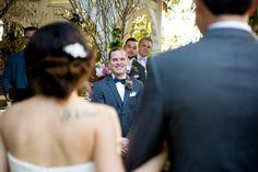 groom processional looking at bride twin oaks garden estate san diego