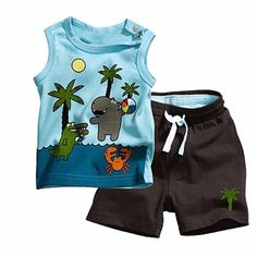 Hot Tollder Kid Boy Sleeveless Top T-shirt Short Pants Set 2 Pcs Outfit Clothes 0-3Y