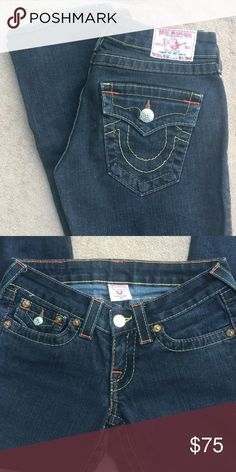"True Religion jeans True Religion Billy skinny jeans. Worn twice. Faded black color with yellow, orange and red stitching. Inseam 32"". Loose thread as in picture above is only flaw. Otherwise excellent condition. True Religion Jeans Skinny"