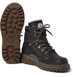 <a href='http://www.mrporter.com/mens/Designers/Moncler'>Moncler</a> is an outdoor label with refinement at its core. Skilfully crafted in Italy from brushed leather and set on sturdy rubber lug soles, these 'Egide' hiking boots illustrate the brand's commitment to quality. The soft shearling linings encase your foot in comfort and warmth when you're trekking in blustery conditions. Wear yours with jeans and a gilet in the city.