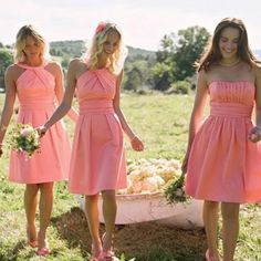 Charming Short Mismatched Sleeveless Strapless Halter Knee Length Pink Simple Over are the days when bridesmaids shrink from their dresses. Now, with this kind of wide collection of dress styles avail Bright Bridesmaid Dresses, Coral Dress, Wedding Dresses, Bridesmaids, Trendy Dresses, Elegant Dresses, Short Dresses, Elegant Gown, Dream Dress