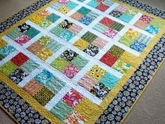 Handmade Lap Quilt, Quilted Blanket, Scrap Quilt, Spring Quilt, Throw Quilt, Yellow Black Quilt, Crazy Daisy, Geometric Lap Quilt on Etsy, $190.00