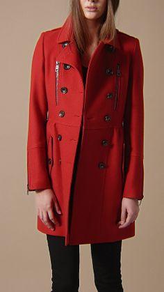 Double Wool Twill Zip Detail Coat   Burberry