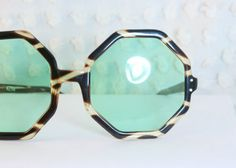 Octagonal Tortoise 1960's Sunglasses Mint Green by THAYEReyewear. I want these SOOO badly!