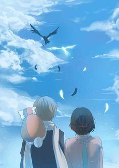 This is so sweet. Anime Cupples, Old Anime, Anime Love, Anime Art, Slice Of Life Anime, Natsume Takashi, Hotarubi No Mori, Natsume Yuujinchou, Cute Cartoon Wallpapers