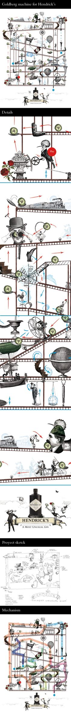 Goldberg machine illustration for Hendrick's on Behance