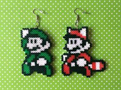 Super Mario & Luigi 8-bit pixel bead earrings made from Perler beads/Hama beads/mini Hama beads by: 8BitEarrings on Etsy