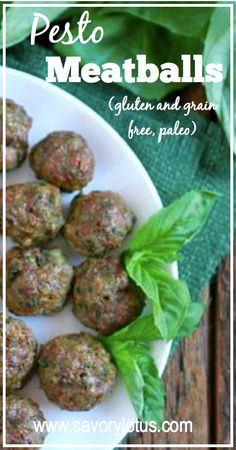 Pesto Meatballs (gluten and grain free, Paleo) - Savory Lotus