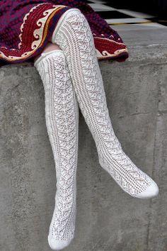 Socks by Sock Dreams » .Socks » Knee Highs » Romantic Lace Ribbed Sweater Socks