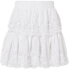 Ruffled White Mini Skirt ($275) ❤ liked on Polyvore featuring skirts, mini skirts, white, short ruffle skirt, lace mini skirt, layered ruffle skirt, tiered ruffle skirt and white short skirt