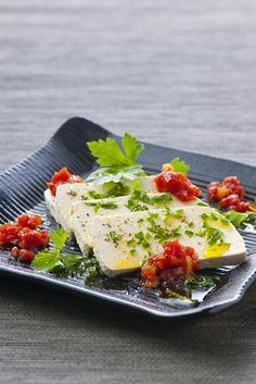 Gekonfijte tomaat met gember en verse tofu met verse kruiden