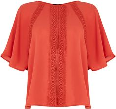 Womens coral top from Oasis - £35 at ClothingByColour.com