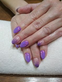 purple gel, purple glitter and flowers