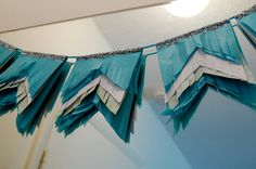 DIY: Tissue Fringe Pennants - Would be cute on a cake!