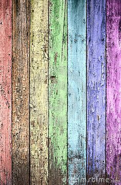 Weathered painted fence