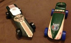 Pinewood Derby cars! Our first try at it.