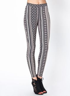 Make a bold statement in these tribal printed pants. They are a cinch to dress up or down.
