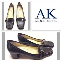 "Black leather Anne Klein heels size 7.5M Classy and professional heels by Anne Klein iflex. They are very comfortable and have solver buckle and grey stitching detail. Style name is AKDAVON. Very little wear to shoes. See photos. 2"" heel height Anne Klein Shoes Heels"