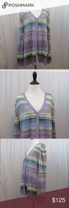 """St John Collection Purple Striped Cardigan 14 Brand: St John Collection  Size: 14   Material:  Care Instructions: Dry Clean Bust: 44"""" Sleeves: 28"""" Length: 30""""  Clothes are all measured flat and unstretched. The bust measurement is doubled. If you are unsure of your measurements just pull out your favorite pieces of clothes and measure them. Great way to make sure the clothing will fit you the way you like. All clothes have been inspected and are in excellent used condition unless otherwise…"""