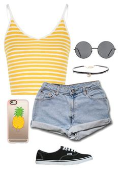 """""""Yellow """" by yeseniahdz ❤ liked on Polyvore featuring Vans, Glamorous, Humble Chic, Casetify and Forever 21"""