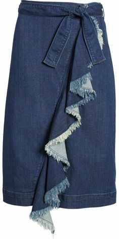 Free shipping and returns on Halogen® Ruffle Front Denim Skirt (Regular & Petite) at Nordstrom.com. The essential denim skirt gets a feminine upgrade in a belted A-line style with a raw-edge ruffle winding down the wrap front.