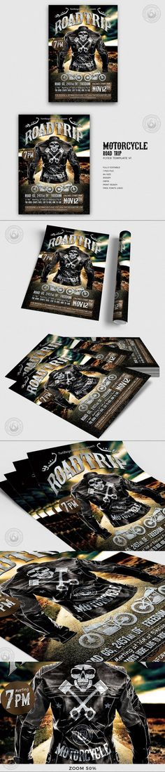 Motorcycle Road Trip Flyer Template #jazz #BestFlyers #rockflyer #travelling #motorcycle #musicfestival #motorbike #band #leather #party #60s #psd #corporate #fullcolour #ocean #mecanics #letter #decorative #photoshop