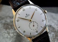 Magnificent 1950′s Steel and Gold Top Oversize Rolex Precision Sub-Second Gents Vintage Watch at Sonning Vintage Watches