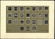 """Austria 1st. Republic 1922, """"essais"""" for special delivery- and postal stamps, original drawings from Karl Krenek in stamp size on specimen cardboard, similar stam..."""