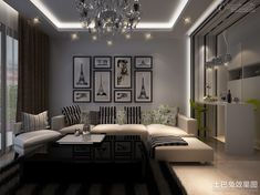 2013 updated modern style living room ceiling decoration effect chart | Living Room