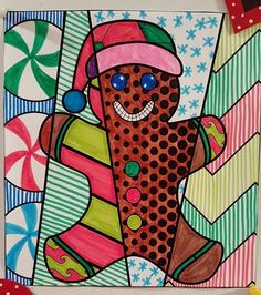 Pop Art gingerbread man coloring sheets. Interactive and pattern filled both included! Fun holiday art projects for kids.