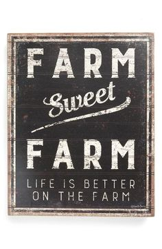 """A rustic wooden box sign lending a distressed """"Farm Sweet Farm - Life Is Better On The Farm"""" sentiment. Easy to hang or can free-stand alone. Complements well with coordinating designs or existing décor. Rustic Wooden Box, Primitive Homes, Primitive Bathrooms, Country Bathrooms, Primitive Country, Farm Signs, Farms Living, Box Signs, Pallet Signs"""