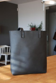 Ready to ship Black Distressed Leather tote bag. Premium