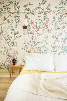 Floral wallpaper, seen at My Domaine