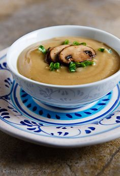 Roasted parsnip & garlic soup with mushrooms.