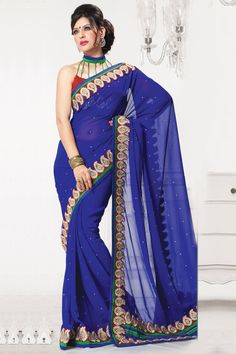 Pavitraa Fashion Melodic Cobalt blue and maroon color