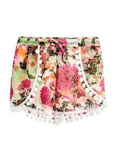 Pink Chiffon Pom Pom Trim Shorts Boho Shorts, Casual Shorts, Pom Pom Trim, Clothing Items, Chiffon, Sewing, Pink, Inspiration, Clothes